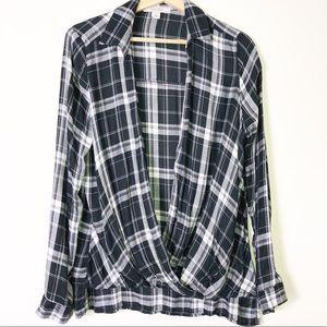 Adam Lavine Black White Plaid Open Long Sl Shirt L